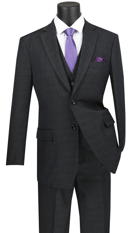 Vinci Mens Suit V2RW-15-BK ( 3pc Single Breasted 2 Buttons, With Shawl Collar Vest, Side Vents, Single Pleated Pants And Window Pane )