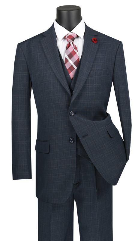 Vinci Mens Suit V2RW-15-BL ( 3pc Single Breasted 2 Buttons, With Shawl Collar Vest, Side Vents, Single Pleated Pants And Window Pane )