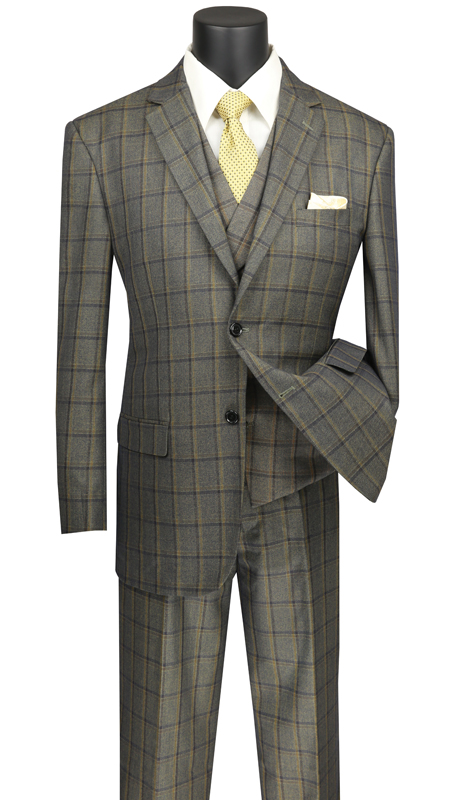Vinci Mens Suit V2RW-12-OL ( 3pc Single Breasted 2 Buttons, With Shawl Collar Vest, Side Vents, Single Pleated Pants And Window Pane )