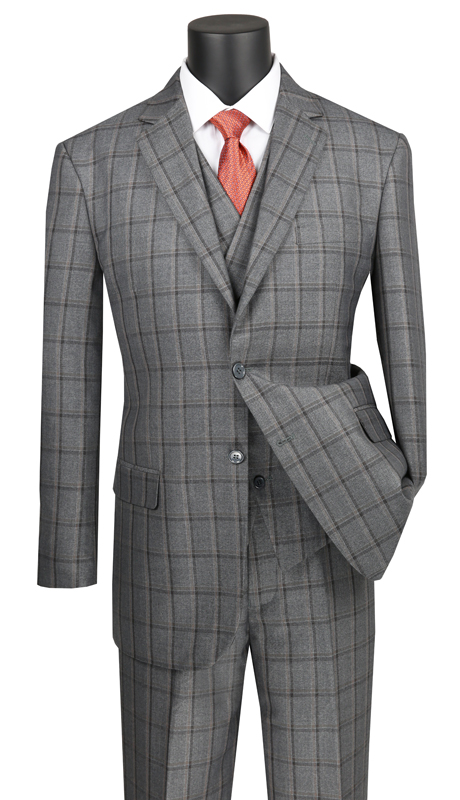 Vinci Mens Suit V2RW-12-GR ( 3pc Single Breasted 2 Buttons, With Shawl Collar Vest, Side Vents, Single Pleated Pants And Window Pane )