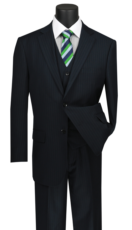 Vinci Mens Suit V2RS-7-NA ( 3pc Single Breasted 2 Buttons Vested Suit With Center Vent, Single Pleated Pants And Pin Stripe )
