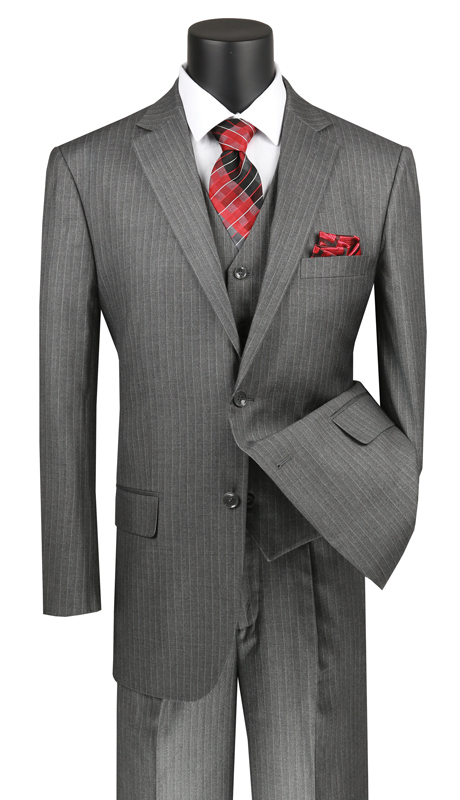 Vinci Mens Suit V2RS-7-MG ( 3pc Single Breasted 2 Buttons Vested Suit With Center Vent, Single Pleated Pants And Pin Stripe )