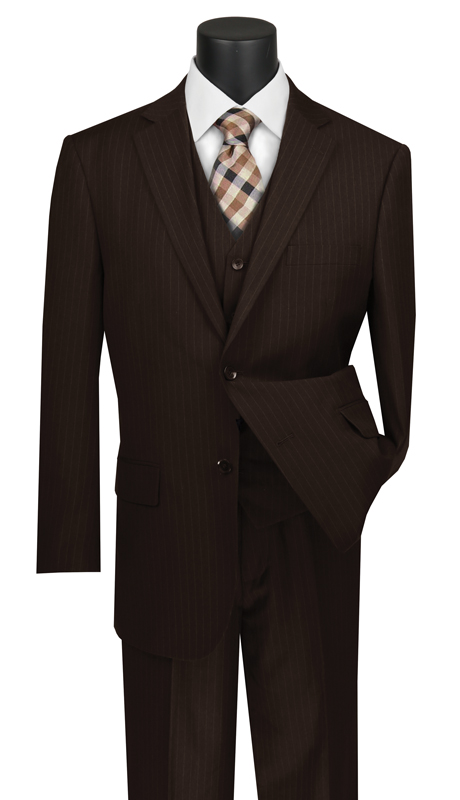 Vinci Mens Suit V2RS-7-BR ( 3pc Single Breasted 2 Buttons Vested Suit With Center Vent, Single Pleated Pants And Pin Stripe )
