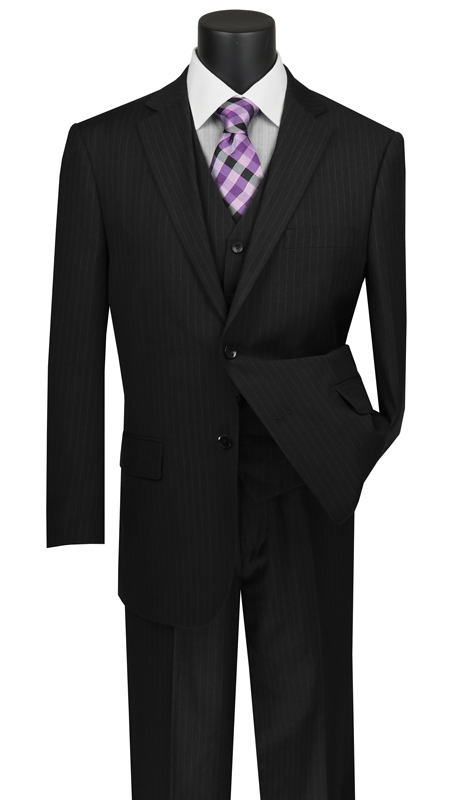 Vinci Mens Suit V2RS-7-BK ( 3pc Single Breasted 2 Buttons Vested Suit With Center Vent, Single Pleated Pants And Pin Stripe )