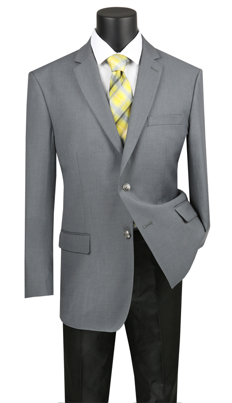 Vinci Mens Sport Coat B-TR-MG ( 1pc Single Breasted 2 Buttons Classic Notch Lapel Sport Coat, Center Vent, Pure Solid )