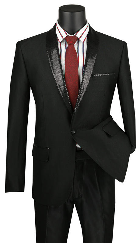 Vinci Mens Coat BSQ-3-BK ( 1pc Single Breasted 1 Button Sport Coat With Sequined Shawl Lapel, Side Vents, Sharkskin )