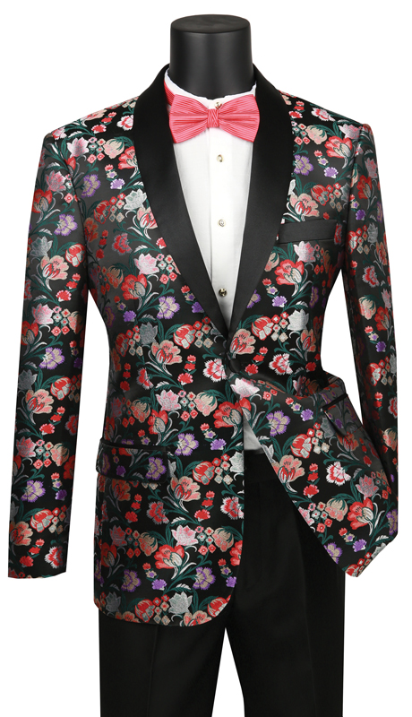 Vinci Mens Coat BFS-7- MU ( 1pc Single Breasted 1 Button Sport Coat With Shawl Lapel, Side Vents, Floral Pattern )