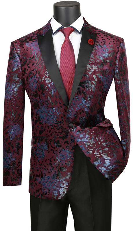 Vinci Mens Coat BS-12- WI ( 1pc Single Breasted 1 Button Sport Coat With Sateen Peak Collar, Side Vents, Floral Velvet )