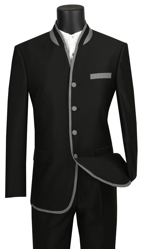 Vinci Mens Suit S4HT-1-BK ( 2pc Single Breasted, Four Buttons, Side Vents, Flat Front Pants, Shark Skin, Banded Collar With Trim )