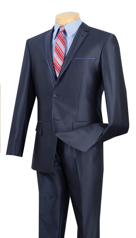 Vinci Mens Suit S2RR-4-B  ( 2pc Single Breasted Two Buttons, Notch Lapel With Contrast Trim, Vents, Flat Front Pants, Shark Skin )