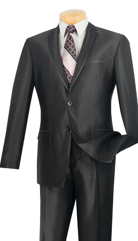 Vinci Mens Suit S2RR-4-BL  ( 2pc Single Breasted Two Buttons, Notch Lapel With Contrast Trim, Vents, Flat Front Pants, Shark Skin )
