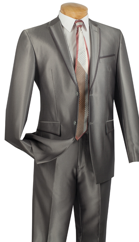 Vinci Mens Suit S2RR-4-GR  ( 2pc Single Breasted Two Buttons, Notch Lapel With Contrast Trim, Vents, Flat Front Pants, Shark Skin )