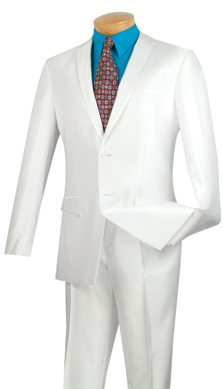 Vinci Mens Suit S2RR-4-WH  ( 2pc Single Breasted Two Buttons, Notch Lapel With Contrast Trim, Vents, Flat Front Pants, Shark Skin )