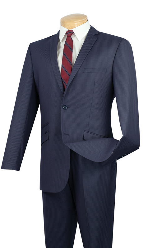 Vinci Mens Suit S2RS-5-NA ( 2pc Single Breasted Two Buttons, Narrow Lapel, Side Vents, Flat Front Pants, Fancy Stripe )