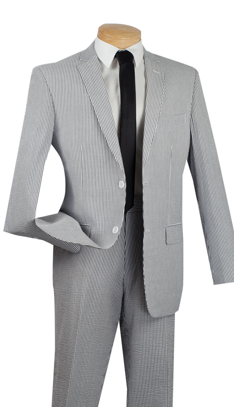 Vinci Mens Suit 2SS-1-BL  ( 2pc Single Breasted Two Buttons, Side Vents, Flat Front Pants, Striped Seersucker )