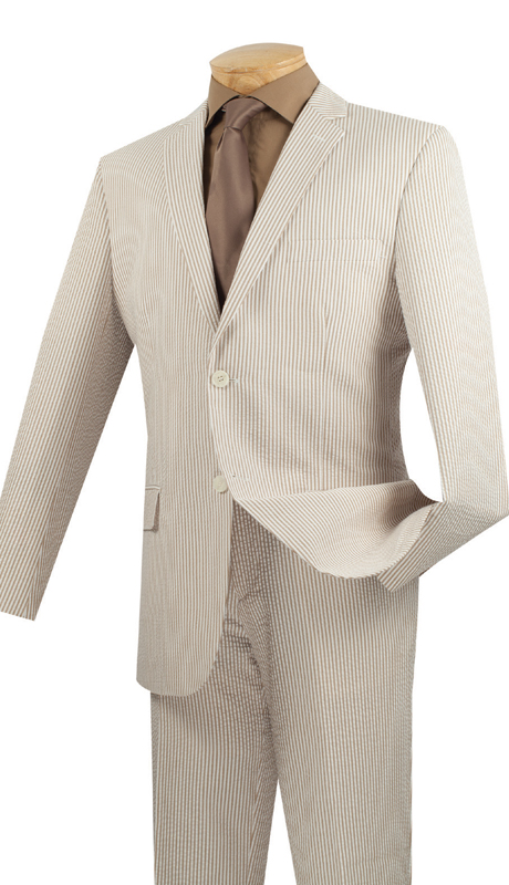 Vinci Mens Suit 2SS-1-TA  ( 2pc Single Breasted Two Buttons, Side Vents, Flat Front Pants, Striped Seersucker )