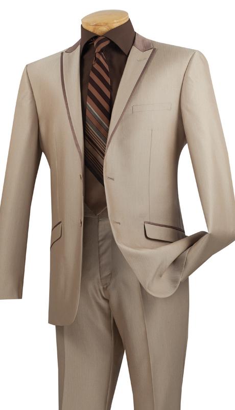Vinci Mens Suit S2TT-1-BE  ( 2pc Single Breasted 2 Buttons, Peak Lapel With Trim, Side Vents, Flat Front Pants, Muted Tone On Tone Stripe )