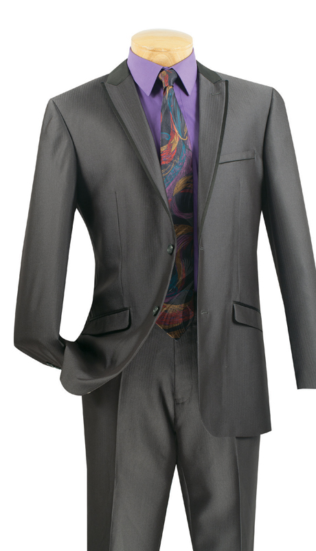 Vinci Mens Suit S2TT-1-CH  ( 2pc Single Breasted 2 Buttons, Peak Lapel With Trim, Side Vents, Flat Front Pants, Muted Tone On Tone Stripe )