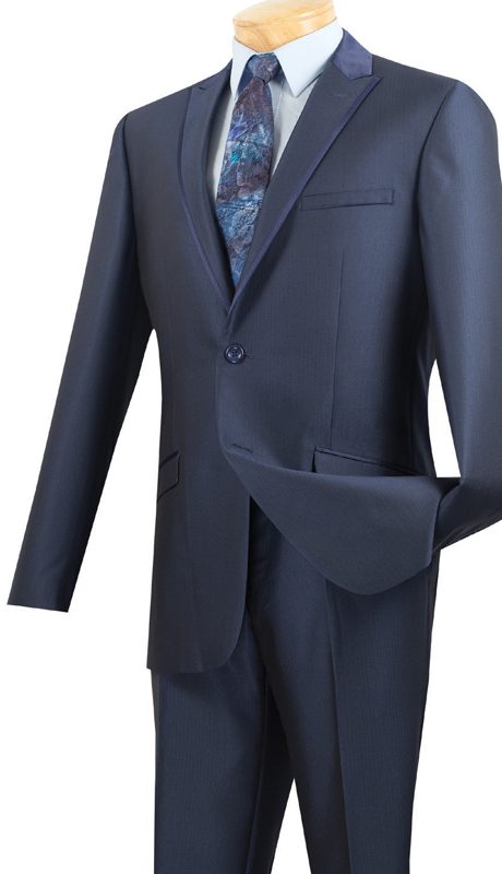 Vinci Mens Suit S2TT-1-MB  ( 2pc Single Breasted 2 Buttons, Peak Lapel With Trim, Side Vents, Flat Front Pants, Muted Tone On Tone Stripe )