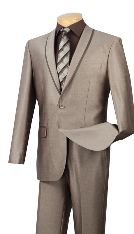 Vinci Mens Suit SSH-1-BE ( 2pc Single Breasted One Button, Trimmed Shawl Collar, Side Vents, Flat Front Pants, Shark Skin )