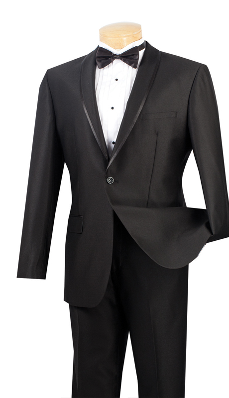 Vinci Mens Suit SSH-1-BLK ( 2pc Single Breasted One Button, Trimmed Shawl Collar, Side Vents, Flat Front Pants, Shark Skin )