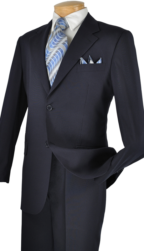 Vinci Mens Suit 2PP-NA ( New Basic Suit 2 Piece Collection, 100% Poplin Dacron, Single Breasted 2 Button, Flat Front Pants, Solid Color )