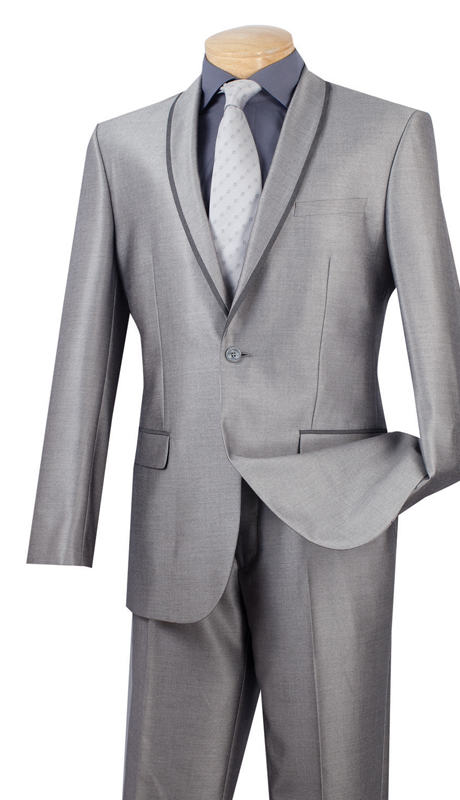Vinci Mens Suit SSH-1-GRA ( 2pc Single Breasted One Button, Trimmed Shawl Collar, Side Vents, Flat Front Pants, Shark Skin )