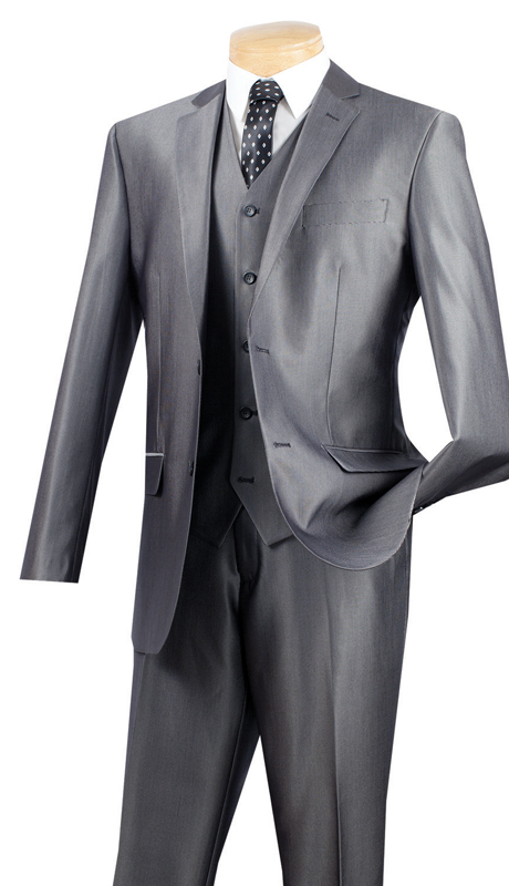 Vinci Mens Suit SV2R-2-GR  ( 3pc Single Breasted Two Buttons, Side Vents, Flat Front Pants, Textured Solid )