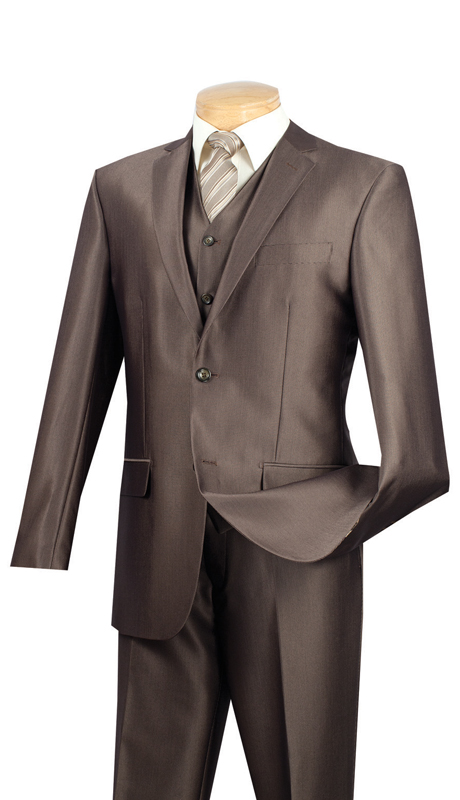 Vinci Mens Suit SV2R-2-MO  ( 3pc Single Breasted Two Buttons, Side Vents, Flat Front Pants, Textured Solid )