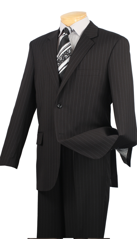 Vinci Mens Suit 2RS-16-BL ( 2pc Single Breasted Two Buttons, Side Vents, Single Pleated Pants, Fancy Stripe )