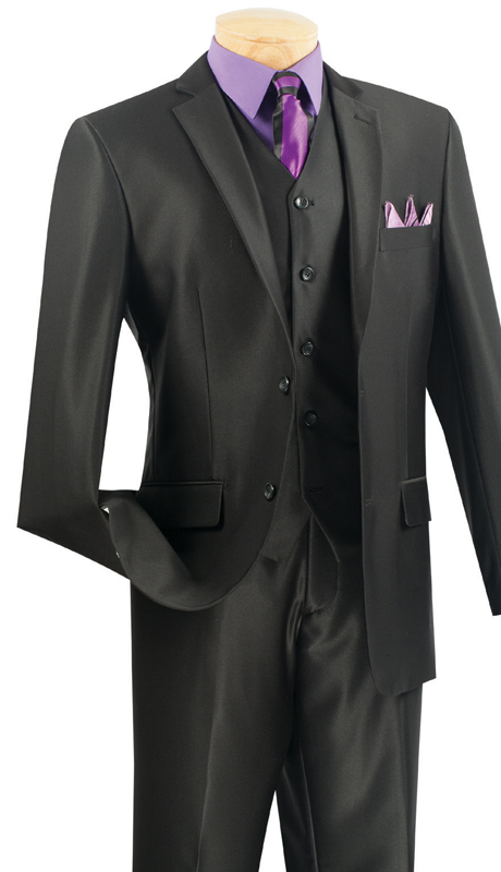 Vinci Mens Suit SV2R-2-BL  ( 3pc Single Breasted Two Buttons, Side Vents, Flat Front Pants, Textured Solid )