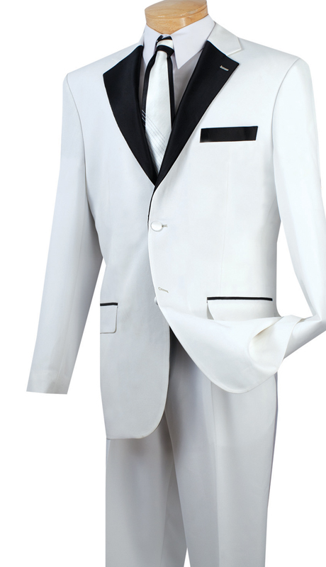 Vinci Mens Tuxedo T-2FF-WH  ( 2pc Single Breasted, Two Buttons With Fancy Lapel, Pleated Pants )