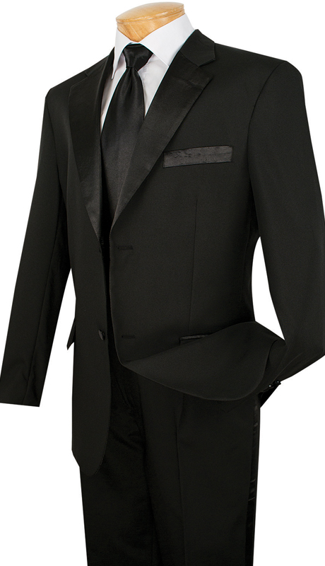 Vinci Mens Tuxedo T-2PP-BL  ( 2pc Single Breasted, Two Buttons, Pleated Pants )