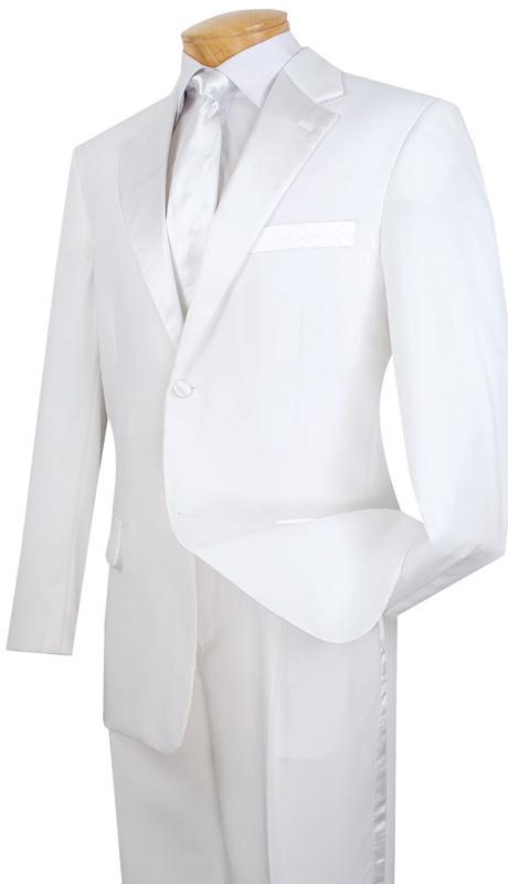Vinci Mens Tuxedo T-2PP-WH  ( 2pc Single Breasted, Two Buttons, Pleated Pants )