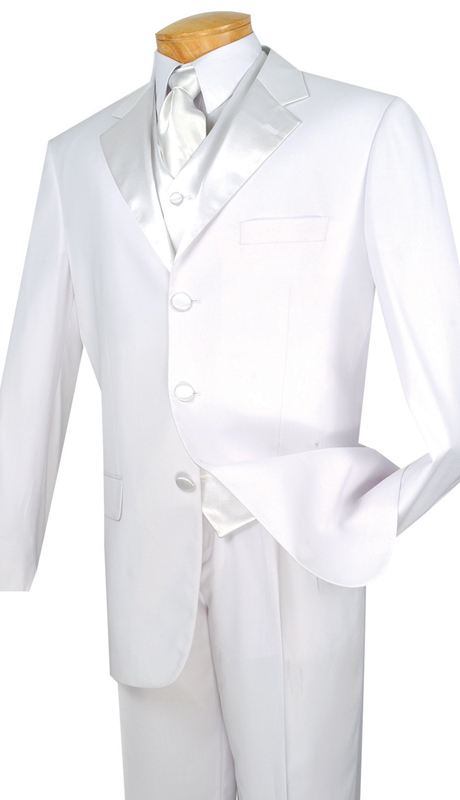 Vinci Mens Tuxedo T-3VR-WH  ( 3pc Single Breasted, Three Buttons, Pleated Pants With Flexible Waistband )