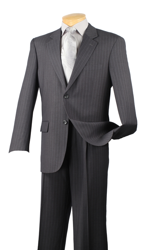 Vinci Mens Suit 2RS-16-CH ( 2pc Single Breasted Two Buttons, Side Vents, Single Pleated Pants, Fancy Stripe )