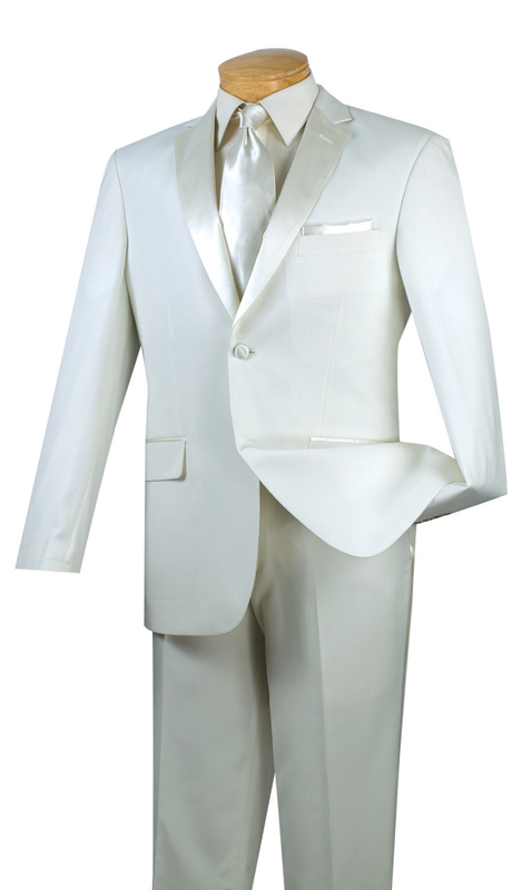 Vinci Mens Tuxedo T-SC900-IV ( 2pc Single Breasted, Two Buttons, Side Vents, Flat Front Pants, Solid Color )
