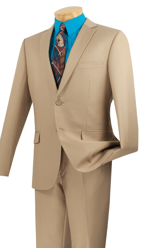 Vinci Mens Suit US900-1-BE ( 2pc Single Breasted Two Buttons, Side Vents, Flat Front Pants, Solid Color )