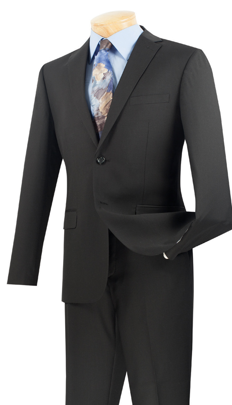 Vinci Mens Suit US900-1-BL ( 2pc Single Breasted Two Buttons, Side Vents, Flat Front Pants, Solid Color )