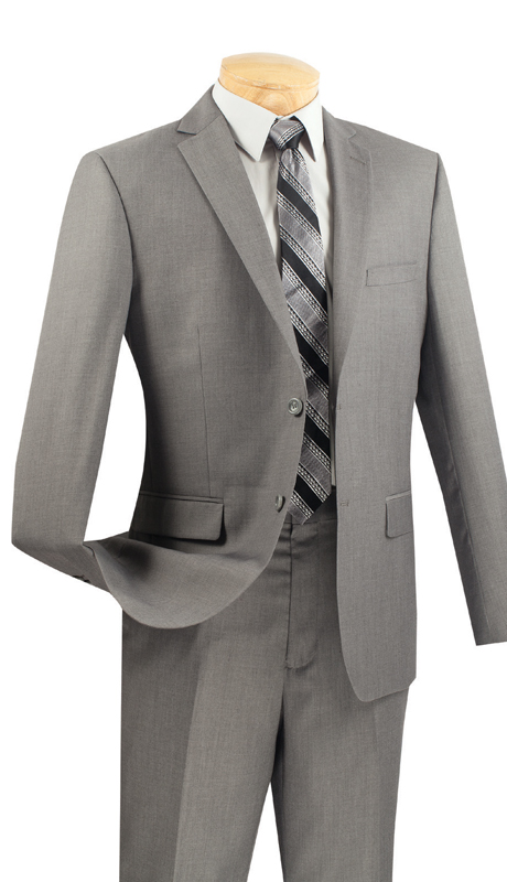 Vinci Mens Suit US900-1-G ( 2pc Single Breasted Two Buttons, Side Vents, Flat Front Pants, Solid Color )