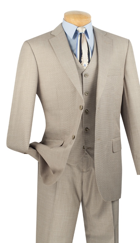Vinci Mens Suit V2RK-2-WH ( 3pc Single Breasted, Two Buttons, With Vest, Side Vents, Flat Front Pants, Textured Weave )