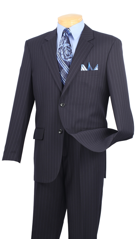 Vinci Mens Suit 2RS-16-NB ( 2pc Single Breasted Two Buttons, Side Vents, Single Pleated Pants, Fancy Stripe )