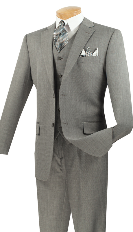 Vinci Mens Suit V2RK-2-GR ( 3pc Single Breasted, Two Buttons, With Vest, Side Vents, Flat Front Pants, Textured Weave )