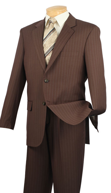 Vinci Mens Suit 2RS-16-TO ( 2pc Single Breasted Two Buttons, Side Vents, Single Pleated Pants, Fancy Stripe )