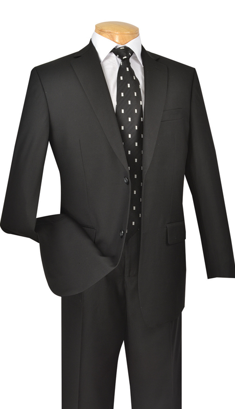 Vinci Mens Suit 2TR-BLK  ( 2pc Single Breasted Two Buttons, Side Vents, Single Pleated Pants, Pure Solid )