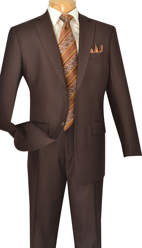 Vinci Mens Suit 2TR-BRN  ( 2pc Single Breasted Two Buttons, Side Vents, Single Pleated Pants, Pure Solid )