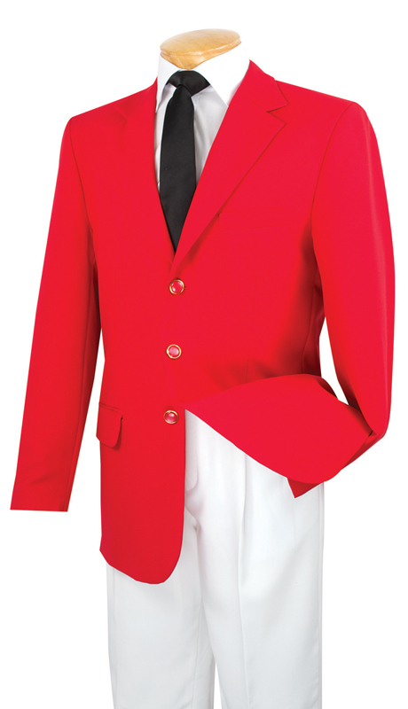 Vinci Mens Blazer Z-3PP-RE ( 1pc Single Breasted, Three Buttons, Solid Color )