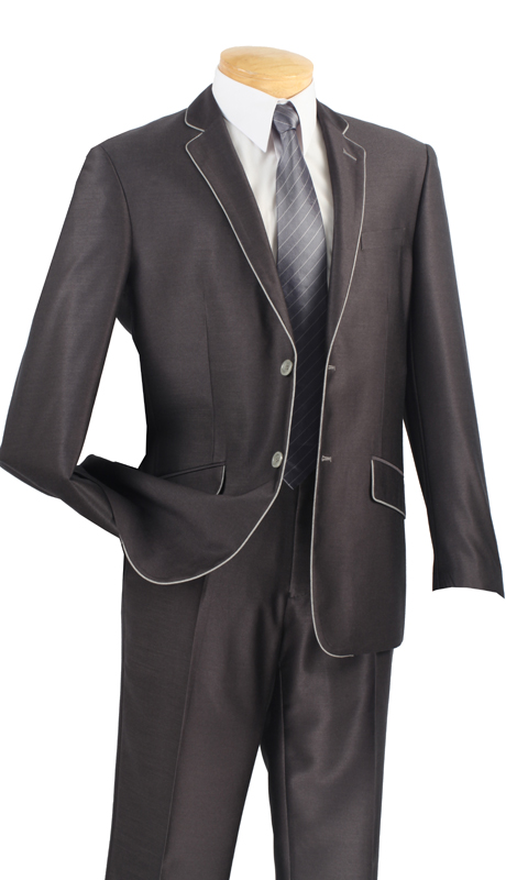 Vinci Mens Suit S2PN-1-CH  ( 2pc Single Breasted Two Buttons, Side Vents, Flat Front Pants, Shark Skin )