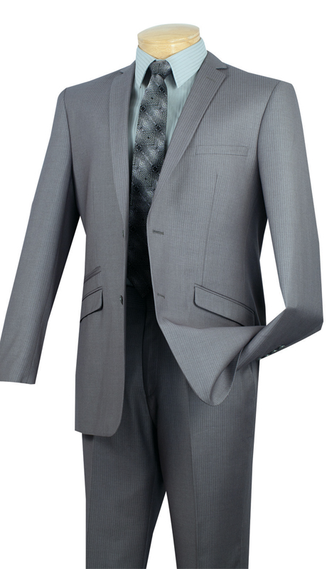 Vinci Mens Suit S2RS-5-GR ( 2pc Single Breasted Two Buttons, Narrow Lapel, Side Vents, Flat Front Pants, Fancy Stripe )