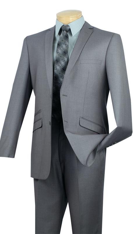 Vinci Mens Suit S2RS-5-GR ( 2pc Single Breasted Two Buttons, Narrow Lapel, Side Vents, Flat Front Pants, Fancy Stripe )
